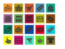 Sistemas de los iconos que hacen compras Fotos de archivo