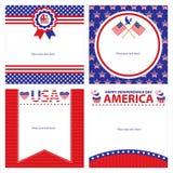 Sistemas de tarjeta americanos de la plantilla del Día de la Independencia Fotos de archivo