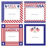 Sistemas de tarjeta americanos de la plantilla del Día de la Independencia Fotografía de archivo