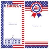 Sistemas de tarjeta americanos de la plantilla del Día de la Independencia Foto de archivo libre de regalías