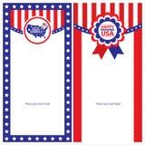 Sistemas de tarjeta americanos de la plantilla del Día de la Independencia Imágenes de archivo libres de regalías