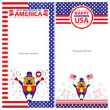 Sistemas de tarjeta americanos de la plantilla del Día de la Independencia Imagen de archivo libre de regalías