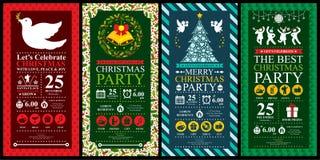Sistemas de tarjeta de la invitación de la fiesta de Navidad Fotografía de archivo
