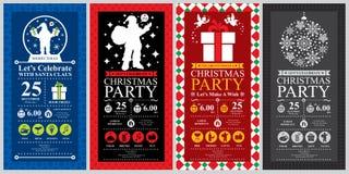 Sistemas de tarjeta de la invitación de la Navidad stock de ilustración