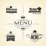 Sistemas del diseño del menú del restaurante stock de ilustración