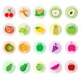 Sistemas del icono de la fruta Imagen de archivo libre de regalías