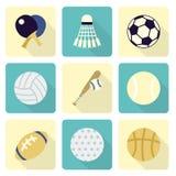 Sistemas del icono de los artículos de los deportes, diseño plano Imagen de archivo libre de regalías