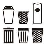 Sistemas del icono del bote de basura Imágenes de archivo libres de regalías