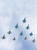 Sistemas del vuelo de los aviones Tig-29 y de Sukhoi Imagen de archivo