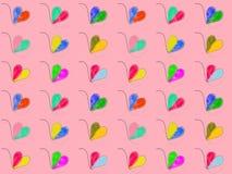 Sistemas dibujados multicolores del corazón Imagen de archivo