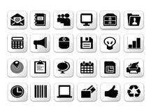 Sistemas planos blancos y negros del icono de la sombra Fotos de archivo
