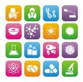 Sistemas planos del icono del estilo de la biotecnología Foto de archivo libre de regalías
