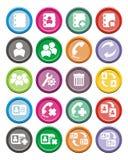 Sistemas redondos del icono del contacto Foto de archivo libre de regalías