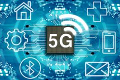 sistemas sem fio e Internet da rede 5G Fotografia de Stock