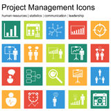 Sistemas superiores del icono de la calidad de gestión del proyecto, de recursos humanos, de comunicación y de iconos de las esta Imagenes de archivo