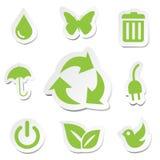 Sistemas verdes de los iconos del mundo Fotografía de archivo libre de regalías