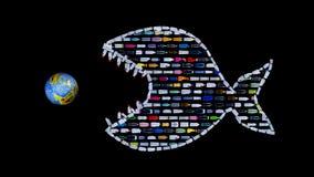 Sistematicalvernietiging van wereldoceanen met plastic huisvuil royalty-vrije illustratie