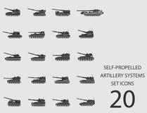 Sistemi automotori dell'artiglieria messi delle icone piane Illustrazione di vettore Illustrazione di Stock