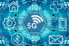 sistemi senza fili e Internet della rete 5G Immagini Stock