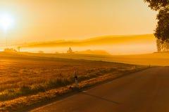 Sistemi sulla mattina dell'alba nella nebbia nel tempo di autunno Immagine Stock