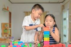 Sister And Brother Play Wood Brick, Royalty Free Stock Photos