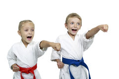 Free Sister And Brother Teach Punch Hands Isolated Background Stock Image - 32661091