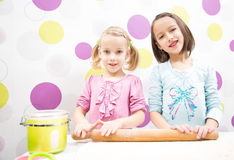 Sister baking Royalty Free Stock Images