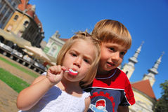 Sister and brother. Boy and girl, playing and having fun Royalty Free Stock Image
