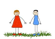 Sister and brother. Illustration of childlike drawing of a brother and sister/friends Stock Photos