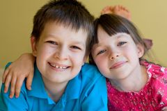 A sister and brother Royalty Free Stock Photography