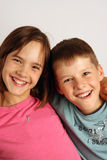 Sister and brother. Smiling sister and brother portrait Stock Photos