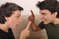 Sister and brother arguing Stock Photo