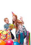 Sister and brother celebrates birthday. Redhead sister and brother celebrates birthday stock photo