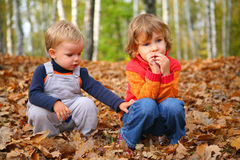 Sister with brother children in autumn park. Sister with little brother children in autumn park Royalty Free Stock Photo