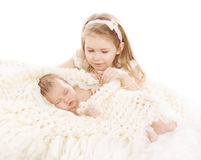 Sister and Brother Kids, Sleeping Baby, Girl Child and Newborn. Boy on White royalty free stock photography