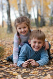 Sister and brother outdoors Royalty Free Stock Photography