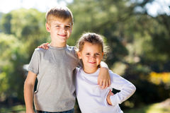 Sister brother outdoors Stock Image