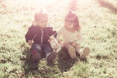 Sister and brother play with toy horse on sunny day stock images