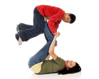 Sister, Brother Playing Stock Images