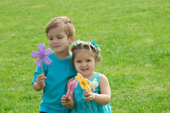 Sister and brother playing with flowers in green grass Stock Photography