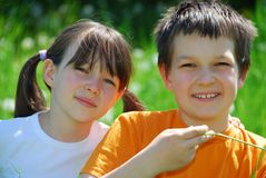 Sister and brother portrait Royalty Free Stock Photo