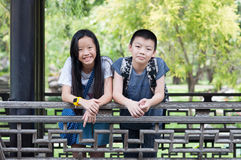 Sister and brother portrait. Sister and brother smile at the park stock images