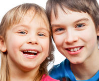 Sister and brother smiling Royalty Free Stock Photo