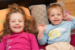 Sister and brother smiling Stock Image