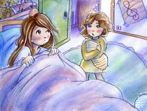 Sister, can I sleep with you?. Little girl would sleep with her big sister. Tools: Watercolors, markers, pastels, rough paper vector illustration