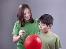 Sister caught by brother. Stock Images