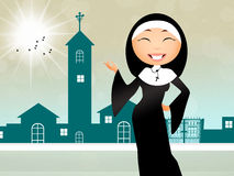 Sister in the church. Illustration of sister in the church vector illustration