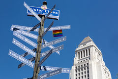 Sister cities of LA sign Stock Photos