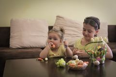 Sister on Easter royalty free stock image