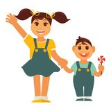 Sister girl and brother boy holding by hands vector flat family. Sister and brother holding by hands. Family children characters of young boy and girl. Vector Royalty Free Stock Photo
